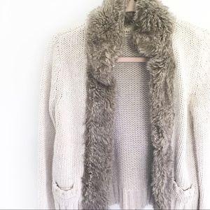 Zara Knit Fur Lined Open Front Cardigan Sweater